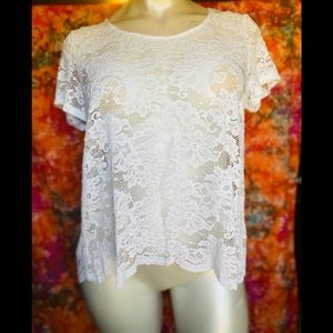 AMBIANCE WHITE LACE OPEN BACK TOP❤️